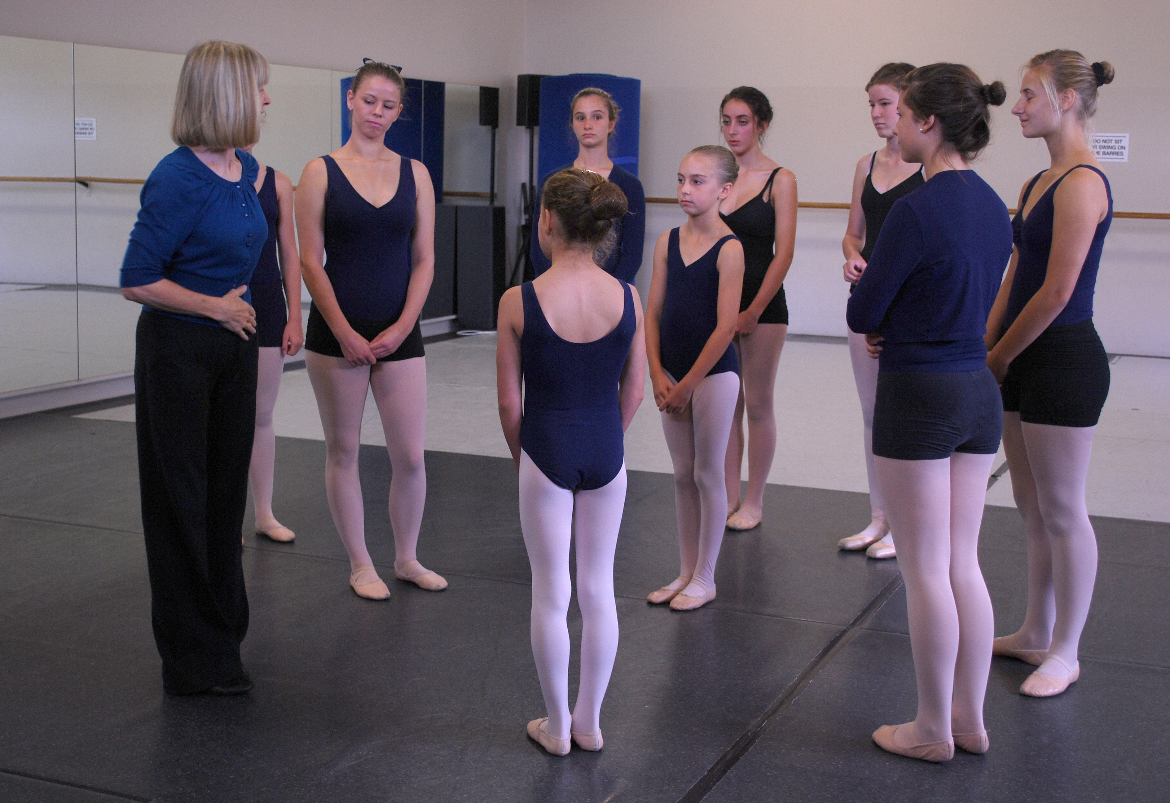 A Laurel Martyn Dance System Teacher with a group of eager students